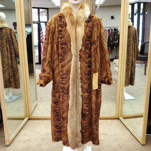 Eizzo Soft Whiskey Mink Fur Sections Coat
